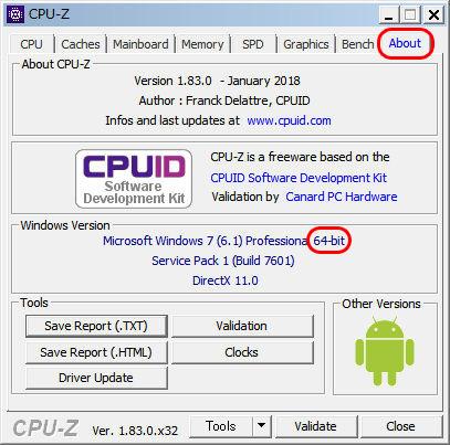 CPU-Z x32かx64かをWindowsのバージョンで確認