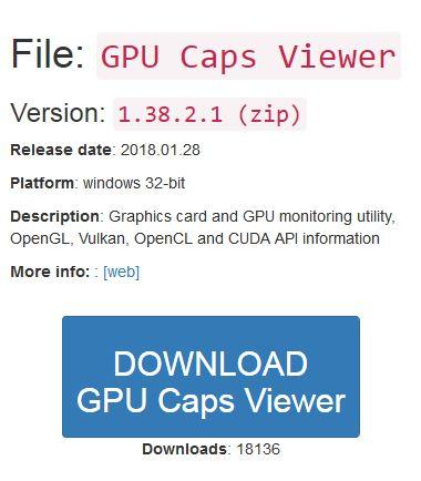 GPU Caps Viewer ダウンロードボタン