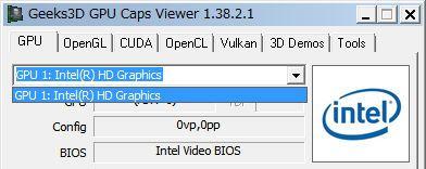 GPU Caps Viewer ビデオカードの選択