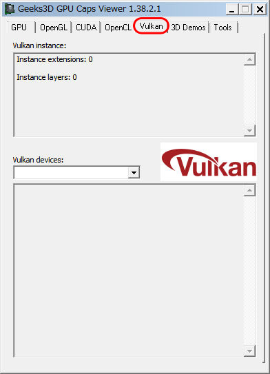 GPU Caps Viewer Vulkanタブ