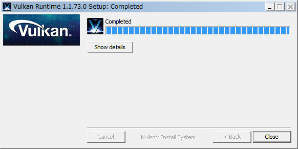 RPCS3 Vulkan ランタイムのインストール完了