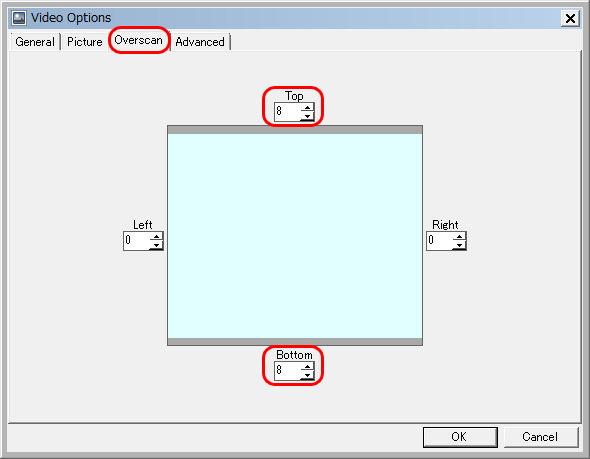 Mesen-S Overscanのタブを選択、TopとBottomの値を8に設定してOKをクリック