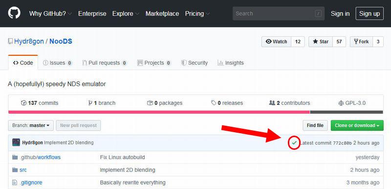 GitHub 最新コミットと更新日付の左側にあるチェックマークを確認