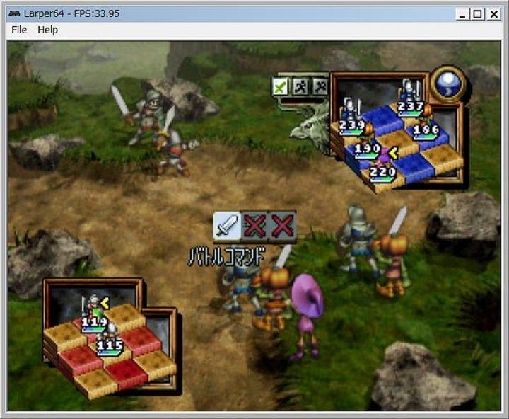 N64エミュ Larper64 オウガバトル64 プレイ画面