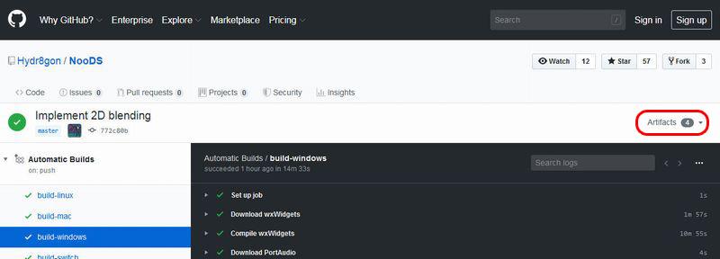 GitHub 画面右上のArtifactsをクリック