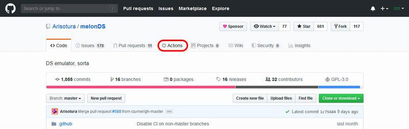 GitHub 画面上のActionsをクリック