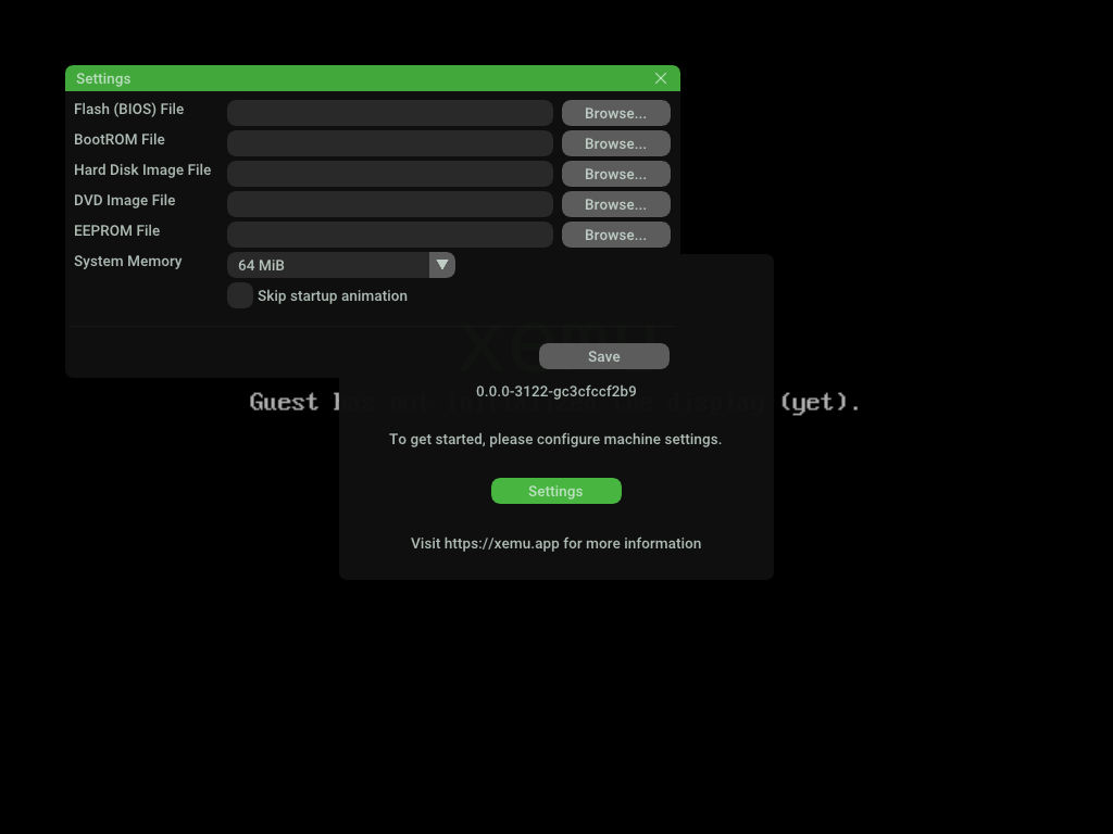 Xbox Emulator xemu GUI 初回起動時 設定画面