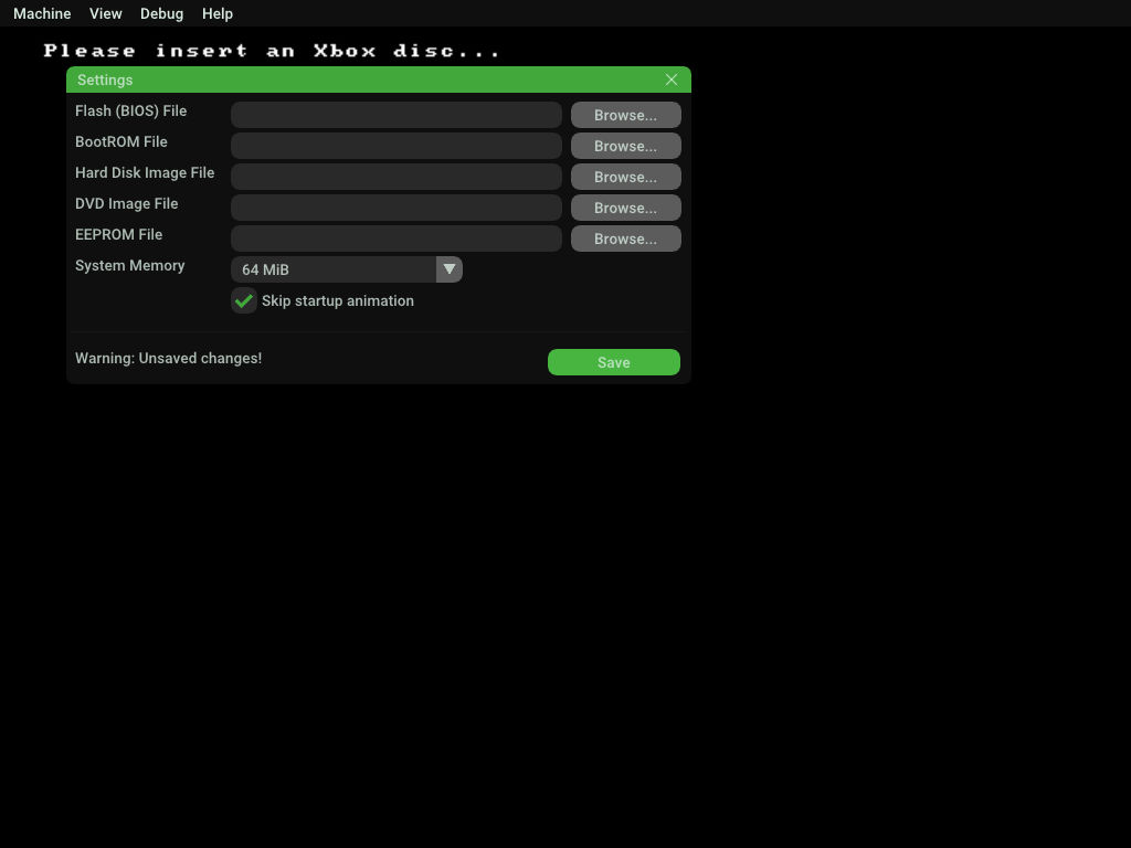 Xbox Emulator xemu GUI 2回め以降の設定 Machine > Settings > 設定画面