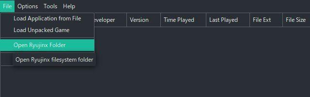 Switchエミュ Ryujinxの導入と設定 システムフォルダを開く