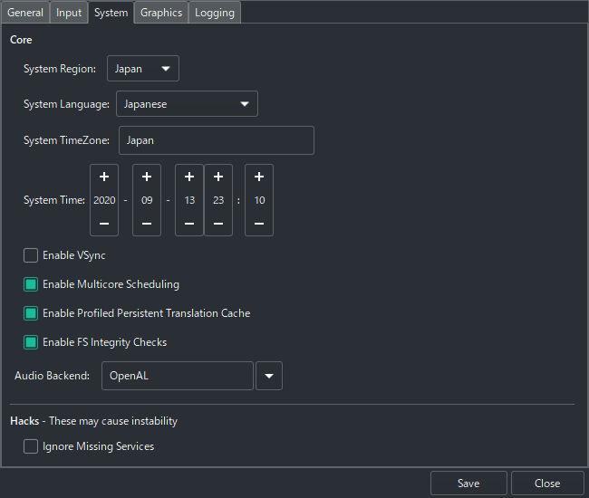 Switchエミュ Ryujinxの導入と設定 システム設定 Systemタブ