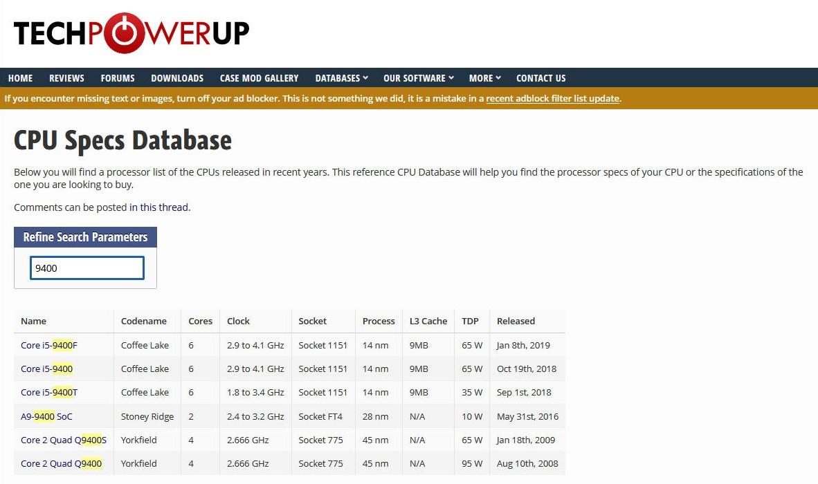 techpowerup.comでCPUのスペックを確認