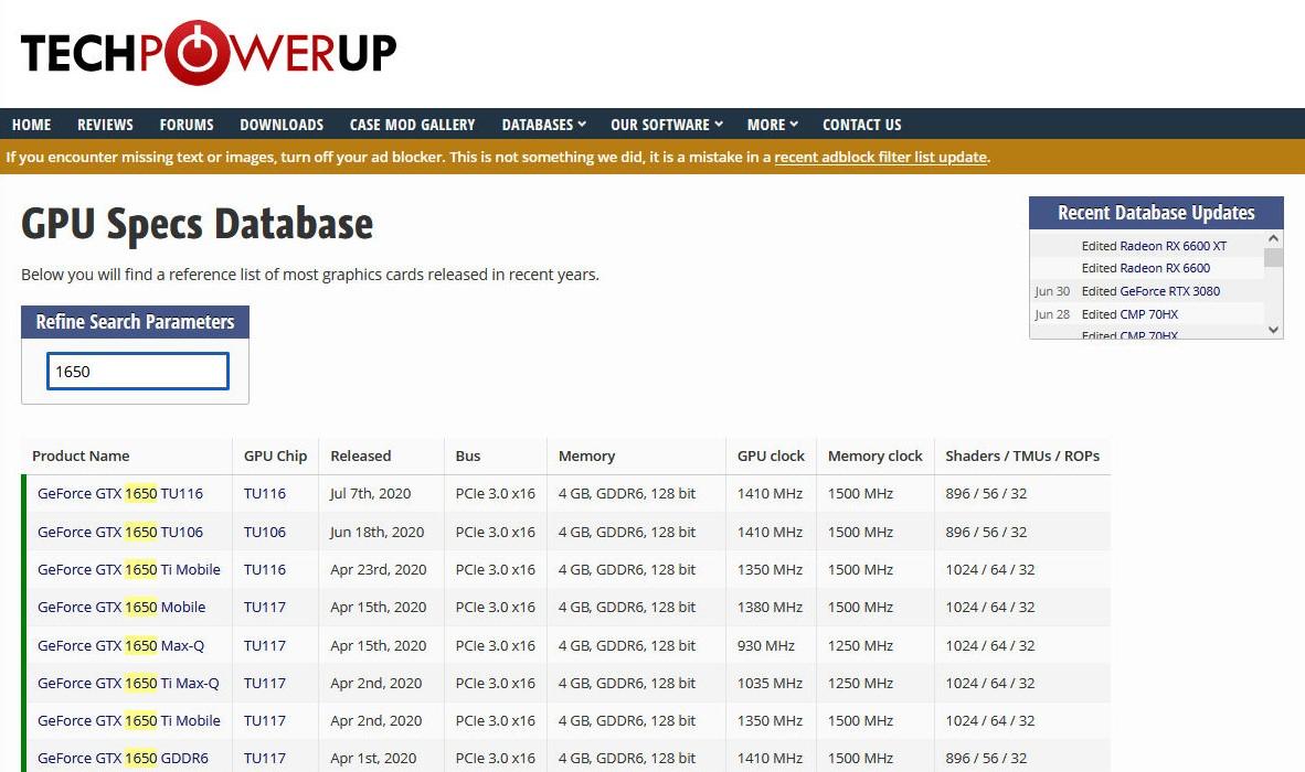 techpowerup.comでGPUのスペックを確認