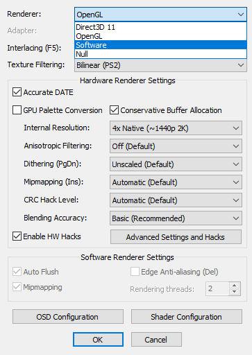 PCSX2 内部解像度を上げると画面に縦線が入る件 RendererをSoftwareにする
